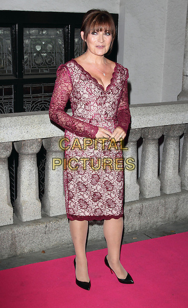 Lorraine Kelly<br /> The Inspiration Awards For Women 2013, Cadogan Hall, Sloane Terrace, London, England.<br /> October 2nd, 2013<br /> full length purple lace dress<br /> CAP/ROS<br /> &copy;Steve Ross/Capital Pictures
