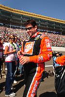 Sept. 28, 2008; Kansas City, KS, USA; Nascar Sprint Cup Series driver Tony Stewart prior to the Camping World RV 400 at Kansas Speedway. Mandatory Credit: Mark J. Rebilas-