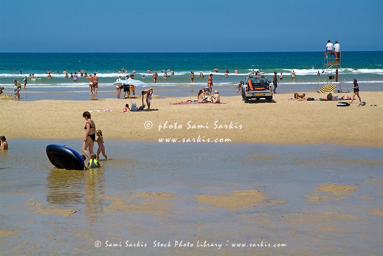 Bathers at Biscarrosse-Plage, a swimming beach at Biscarrosse, France.