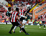 Jota of Brentford and Jack O'Connell of Sheffield Utd during the English Championship League match at Bramall Lane Stadium, Sheffield. Picture date: August 5th 2017. Pic credit should read: Simon Bellis/Sportimage