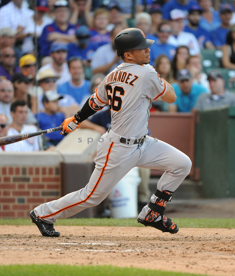 San Francisco Giants Gorkys Hernandez (66) during a game against the Chicago Cubs on September 4, 2016 at Wrigley Field in Chicago, IL. The Cubs beat the Giants 3-2.