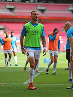 Jordan Tunnicliffe of AFC Flyde warming up during AFC Fylde vs Salford City, Vanarama National League Play-Off Final Football at Wembley Stadium on 11th May 2019