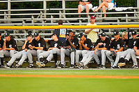 The Bristol White Sox bullpen watches the action during the Appalachian League game against the Burlington Royals at Burlington Athletic Park on July 6, 2012 in Burlington, North Carolina.  The Royals defeated the White Sox 5-2.  (Brian Westerholt/Four Seam Images)