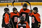 03.01.2020, BLZ Arena, Füssen / Fuessen, GER, IIHF Ice Hockey U18 Women's World Championship DIV I Group A, <br /> Frankreich (FRA) vs Japan (JPN), <br /> im Bild Torjubel nach 3:0, Sakura Kitamura (JPN, #7), Shiori Yamashita (JPN, #2), Shizuku Omiya (JPN, #10), Minami Kamada (JPN, #15), Azuki Ushio (JPN, #24)<br /> <br /> Foto © nordphoto / Hafner