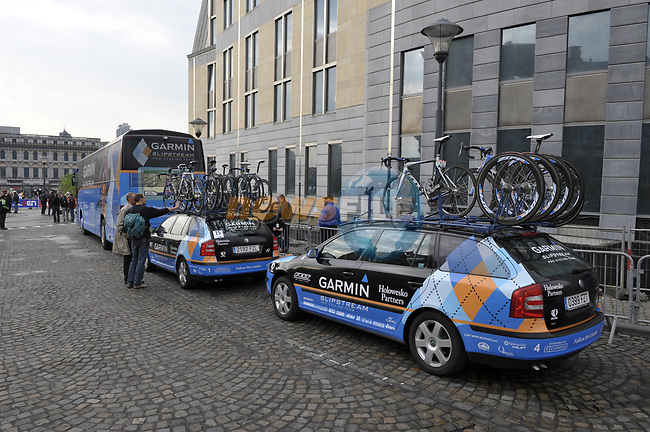 Garmin Slipstream team bus arrives at the start of the Liege-Bastogne-Liege cycle race. 26th April 2009 (Photo by Eoin Clarke/NEWSFILE)