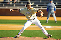 Wake Forest Demon Deacons starting pitcher Chris Willson #91 in action against the UNC-Asheville Bulldogs at Wake Forest Baseball Park on February 28, 2012 in Winston-Salem, North Carolina.  The Demon Deacons defeated the Bulldogs 9-8.  (Brian Westerholt/Four Seam Images)