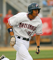25 June 2007: Mike Daniel of the Potomac Nationals, Class A affiliate of the Washington Nationals, vs. the Frederick Keys, a Baltimore Orioles affiliate, at Pfitzner Stadium, Woodbridge, Va.  Photo by:  Tom Priddy/Four Seam Images
