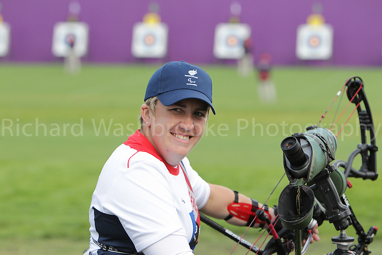 Paralympics London 2012 - ParalympicsGB - Archery Womens Individual Compound Open  30th August 2012.  .Mel Clarke competing in the Womens Archery Individual Compound - Open Heats at the Paralympic Games in London. Photo: Richard Washbrooke/ParalympicsGB