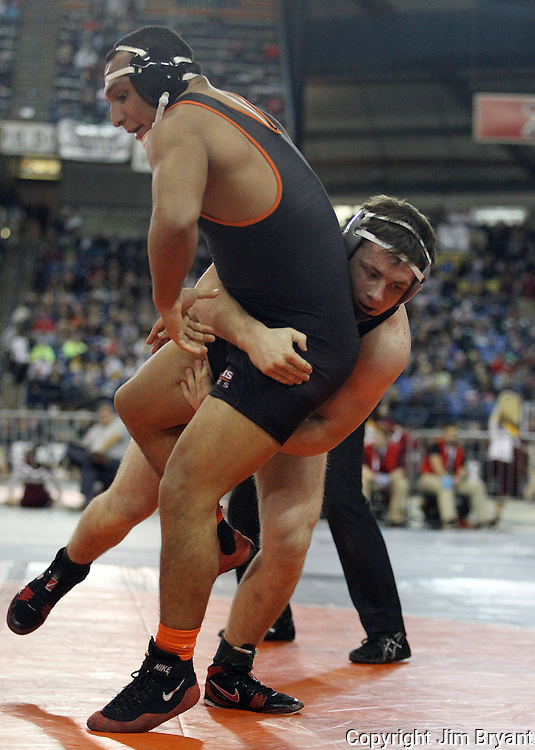 Unions' Zach Berfanger ,right, tries to take down Davis' Christian Reyes in their 195 pound match on Friday, Feb, 19, 2016 at the Mat Classic XXVIII held in the Tacoma Dome. Ryes held on beat Berfanger 2-1. (Jim Bryant Photo)