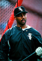 Harold Baines of the Chicago White Sox during a game at Anaheim Stadium in Anaheim, California during the 1997 season.(Larry Goren/Four Seam Images)