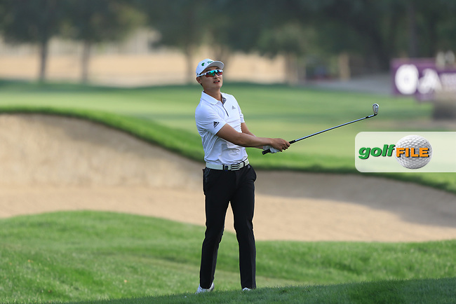 Haotong Li (CHN) on the 16th during Round 4 of the Omega Dubai Desert Classic, Emirates Golf Club, Dubai,  United Arab Emirates. 27/01/2019<br /> Picture: Golffile | Thos Caffrey<br /> <br /> <br /> All photo usage must carry mandatory copyright credit (&copy; Golffile | Thos Caffrey)
