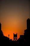 Tower Bridge at sunset in downtown Sacramento, California on August 17, 2015.