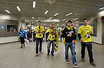 Bayern Munich 2 Borussia Dortmund 1, 25/05/2013. Wembley Stadium, Champions League Final. The first all-German Champions League final pitched Bayern, dominent domestically all season, against a Dortmund team who have troubled them so often in recent years. Dortmund supporters arrive on the tube to Wembley. Photo by Simon Gill.