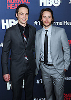 "NEW YORK CITY, NY, USA - MAY 12: Jim Parsons, Taylor Kitsch at the New York Screening Of HBO's ""The Normal Heart"" held at the Ziegfeld Theater on May 12, 2014 in New York City, New York, United States. (Photo by Celebrity Monitor)"