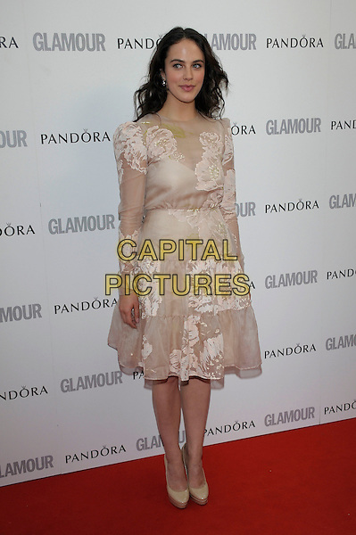 Jessica Brown Findlay.Women Of The Year 2012 - Glamour Awards, Berkeley Square, London, England..29th May 2012.full length beige white lace dress .CAP/PL.©Phil Loftus/Capital Pictures.