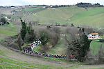 The peleton in action during Stage 6 of the 53rd edition of the Tirreno-Adriatico 2018 running 153km from Numana to Fano, Italy. 12th March 2018.<br /> Picture: LaPresse/Fabio Ferrari | Cyclefile<br /> <br /> <br /> All photos usage must carry mandatory copyright credit (&copy; Cyclefile | LaPresse/Fabio Ferrari)