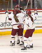 Tori Sullivan (BC - 9), Kristyn Capizzano (BC - 7), Meghan Grieves (BC - 17), Grace Bizal (BC - 2) - The Boston College Eagles defeated the Northeastern University Huskies 5-1 (EN) in their NCAA Quarterfinal on Saturday, March 12, 2016, at Kelley Rink in Conte Forum in Boston, Massachusetts.