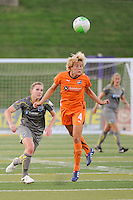 Daphne Koster (4) of Sky Blue FC heads the ball. The Philadelphia Independence defeated Sky Blue FC 2-1 during a Women's Professional Soccer (WPS) match at John A. Farrell Stadium in West Chester, PA, on June 6, 2010.