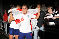 Rachel Daly of England Women celebrates at full time during the FIFA Women's World Cup Qualifier match between Wales and England at Rodney Parade on August 31, 2018 in Newport, Wales.