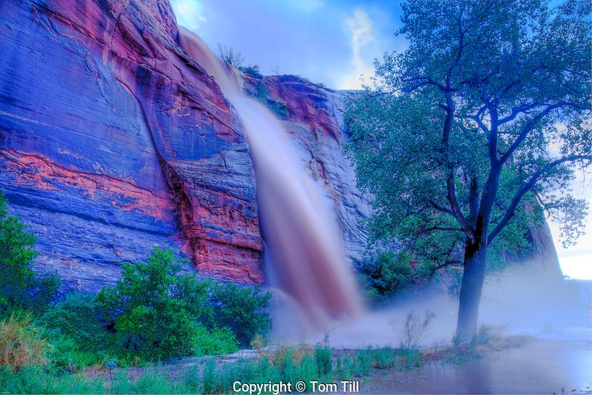 Flashflood waterfall along the Colorado River, Utah   Near Moab   Runoff from intense monsoon thunderstorms