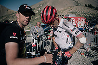 Markel Irizar (ESP/Trek-Segafredo) checking his wounds after finishing up the Col d'Izoard (HC/2360m/14.1km/7.3%)<br /> <br /> 104th Tour de France 2017<br /> Stage 18 - Briancon › Izoard (178km)