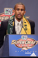 Troy Roberts (University of California - Berkley) is picked by Los Angeles Galaxy in the first round of the MLS SuperDraft held at the Baltimore Convention Center, Baltimore, MD, on Friday, January14, 2005..