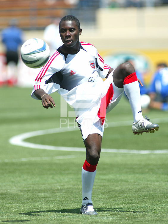 1 May 2004:  DC United Freddy Adu practices before the game against Earthquakes at Spartan Stadium in San Jose, California.  Earthquakes and DC United tied 1-1..Mandatory Credit: Michael Pimentel/ISI