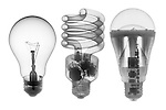 X-ray image of incandescent, CFL, LED bulbs (black on white) by Jim Wehtje, specialist in x-ray art and design images.