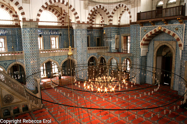 Interior of the Rustem Pasa Mosque one of the Ottoman architect Sinan's exquisite works, Istanbul, Turkey