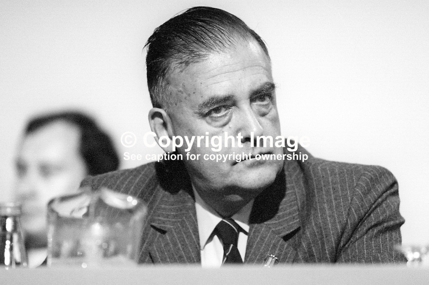 Geoffrey Finsberg, MP, Conservative Party, UK, on platform at annual conference, September, 1986. 19861011GF1<br />
