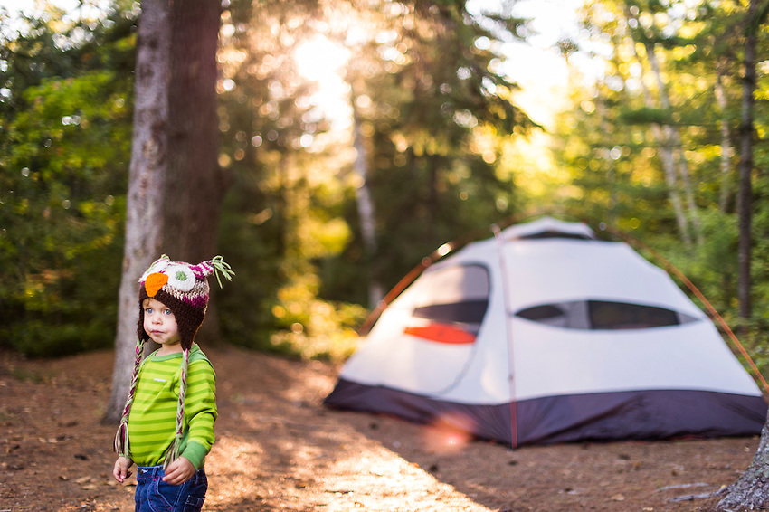 Family canoeing and camping in the Hiawatha National Forest of Michigan's Upper Peninsula near Munising, Michigan.