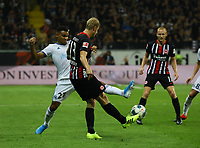Martin Hinteregger (Eintracht Frankfurt) gegen Kenny Lala (Racing Club de Strasbourg Alsace) - 29.08.2019: Eintracht Frankfurt vs. Racing Straßburg, UEFA Europa League, Qualifikation, Commerzbank Arena<br /> DISCLAIMER: DFL regulations prohibit any use of photographs as image sequences and/or quasi-video.