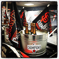 KANSAS CITY, MO - OCTOBER 29: Instagram of champagne on ice in the San Francisco Giants clubhouse after Game 7 of the World Series against the Kansas City Royals at Kauffman Stadium on October 29, 2014 in Kansas City, Missouri. Photo by Brad Mangin