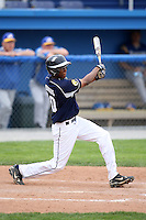 April 15,2010:  Shortstop John Polonious (10) of the Genesee Community College (GCC) Cougars Men's Baseball Team hits a home run over the center field wall vs. Alfred State at Dwyer Stadium in Batavia, NY.  Photo Copyright Mike Janes Photography 2010