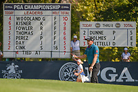 Paul Dunne (IRE) is introduced on the the green on 9 during 2nd round of the 100th PGA Championship at Bellerive Country Club, St. Louis, Missouri. 8/11/2018.<br /> Picture: Golffile | Ken Murray<br /> <br /> All photo usage must carry mandatory copyright credit (© Golffile | Ken Murray)