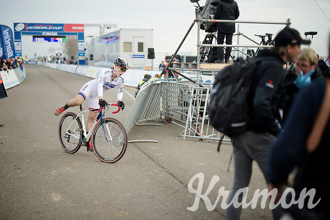 not a good day for Katherine 'Katie' Compton (USA/Trek)<br /> <br /> Koksijde CX World Cup 2014