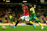 27th Ocotber 2019; Carrow Road, Norwich, Norfolk, England, English Premier League Football, Norwich versus Manchester United; Marcus Rashford of Manchester Utd gets past  Alexander Tette of Norwich City - Strictly Editorial Use Only. No use with unauthorized audio, video, data, fixture lists, club/league logos or 'live' services. Online in-match use limited to 120 images, no video emulation. No use in betting, games or single club/league/player publications