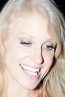 Campaign manager Kellyanne Conway speaks to the media after President-elect Donald Trump spoke in the ballroom in the Midtown Hilton at the election night victory rally for Republican presidential nominee Donald Trump, after the presidential race was called for Trump in the early hours of Nov. 9, 2016.