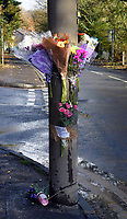 Pictured: Flowers and tributes left at the svene of the crash in Trebanos, south Wales, UK.<br /> Re: Jason Thomas and girlfriend Naomi Carter have died and a baby has been taken to hospital after the car they were travelling in crashed into a lamp-post in the Swansea Valley, Wales, UK.<br /> South Wales Police was called to Swansea Road, Trebanos, in the county of Neath Port Talbot at about 3:15am of Saturday.<br /> The 23-year-old male driver and a female passenger, 18, were killed. 11-month-old baby Brogan was taken to hospital with non life-threatening injuries.<br /> Police have appealed for witnesses.