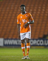 Armand Gnanduillet of Blackpool during the The Checkatrade Trophy match between Blackpool and Wycombe Wanderers at Bloomfield Road, Blackpool, England on 10 January 2017. Photo by Andy Rowland / PRiME Media Images.