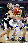 SIOUX FALLS, SD: MARCH 6: Taylor Higginbotham #24 of Western Illinois tries to gain control of the ball as Mikaela Shaw #22 of Omaha reaches during the Summit League Basketball Championship on March 6, 2017 at the Denny Sanford Premier Center in Sioux Falls, SD. (Photo by Dick Carlson/Inertia)