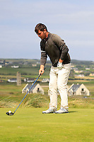 Stuart Bleakley (Shandon Park) on the 2nd tee during the Quarter Finals of The South of Ireland in Lahinch Golf Club on Tuesday 29th July 2014.<br /> Picture:  Thos Caffrey / www.golffile.ie