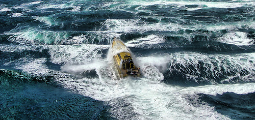 Thunderchild II heading into the standing waves at the Corryvreckan Whirlpool