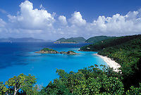 St. John, Virgin Islands National Park, Caribbean, U.S. Virgin Islands, USVI, Scenic view of Trunk Bay Beach in Virgin Islands Nat'l Park on Saint John Island.