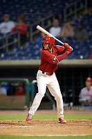 Clearwater Threshers center fielder Mickey Moniak (2) at bat during a game against the Florida Fire Frogs on June 1, 2018 at Spectrum Field in Clearwater, Florida.  Florida defeated Clearwater 12-10.  (Mike Janes/Four Seam Images)