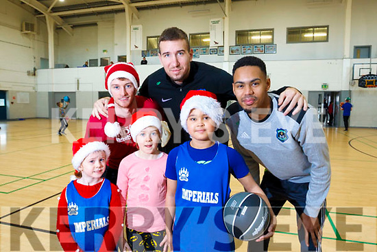 Clodagh O'Sullivan, Ella O'Sullivan Michael Diallo in front and back row l to r; Darragh O'Hanlon, Goran Bantovic and Trae Pemberton. In attendance at the Mercy Mounthawk School gym for a  Basketball Marathon in aid of the Kerry Hospice.