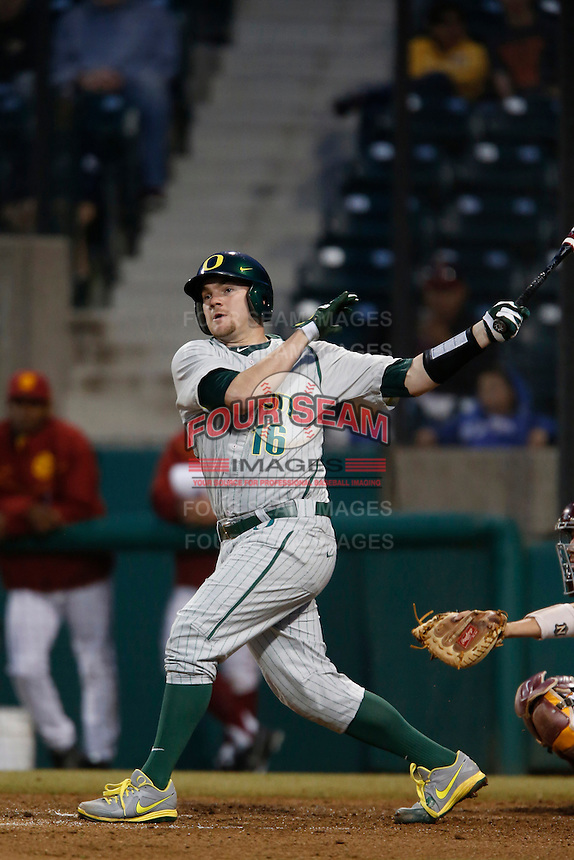 Shaun Chase #16 of the Oregon Ducks bats against the USC Trojans at Dedeaux Field on March 15, 2013 in Los Angeles, California. (Larry Goren/Four Seam Images)
