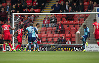 Myles Weston of Wycombe Wanderers clears off the line to keep it at 0 0 during the Sky Bet League 2 match between Leyton Orient and Wycombe Wanderers at the Matchroom Stadium, London, England on 1 April 2017. Photo by Andy Rowland.