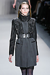 Iris Egbers walks the runway in a Nicole Miller Fall 2011 outfit, during Mercedes-Benz Fashion Week.