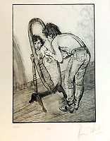 BNPS.co.uk (01202 558833)<br /> Pic: OmegaAuctions/BNPS<br /> <br /> PICTURED: A sketch of Keith Richards in the mirror<br /> <br /> A huge collection of artwork by legendary Rolling Stones singer Ronnie Wood has emerged for sale for a whopping £25,000.<br /> <br /> The group of 49 prints have been created by the 72-year-old rocker over a number of years and depict a host of famous faces.<br /> <br /> Among the celebrities to be given the artist's treatment are the likes of Mohammed Ali, Elvis Presley and even his own bandmates.